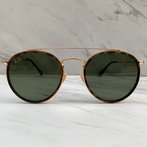 😎 Ray-Ban Round Double Bridge Gold RB3647N